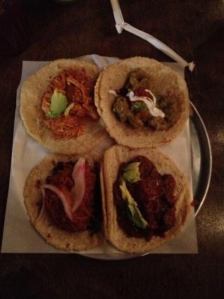 Clockwise from top left: Tinga de Pollo, Chuleta en Salsa Verde, Bistek en Salsa Rojo, Cochinita Pibil