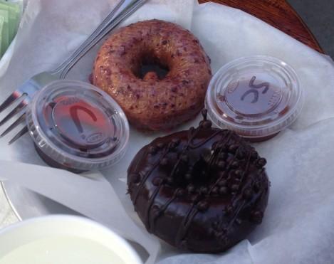 Glazed Triple-Chocolate  Blueberry Lemon Donuts a la Stu