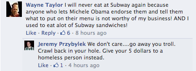 Subway Facebook Comments