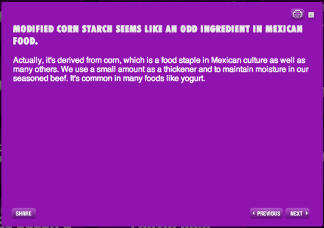 taco Bell Corn Starch