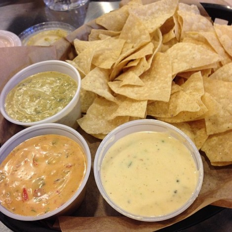 QDoba Queso Sampler, featuring Fiery Diablo and Zesty Verde.