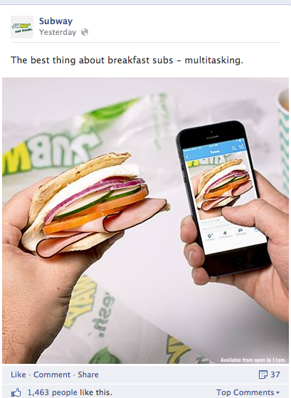 Strong social engagement means more than just sharing photos of your sandwich, Subway.