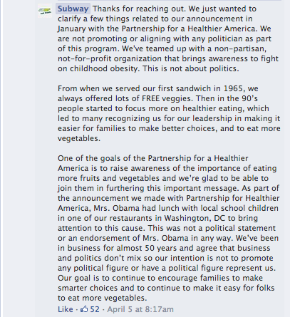 Subway Michelle Obama Response Facebook Comments