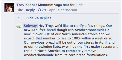 Subway Facebook Page Yoga COmment
