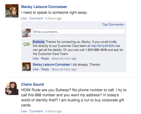Subway Rude Customer Service