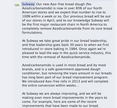 Subway Facebook Azo Bread Essay