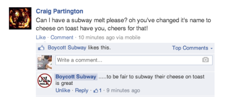 Boycott Subway facebook Page