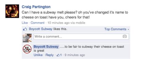 Boycott Subway facebook Page