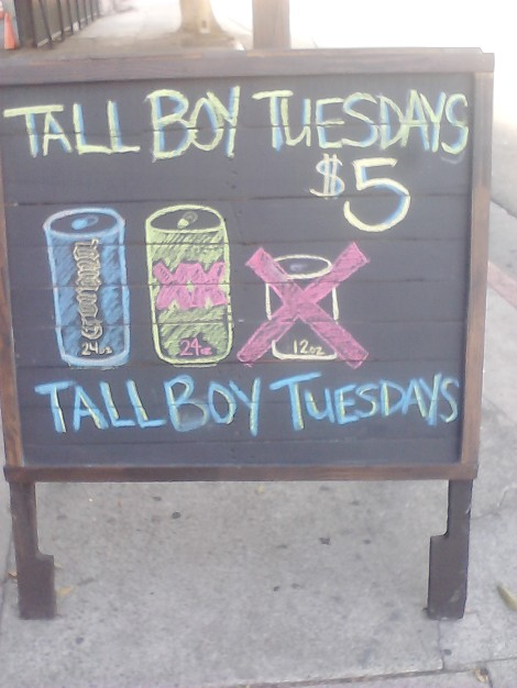 Senor Fish's $5 Tall Boys Special. What a bargain?